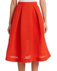 Nicholas Pleated Pique A Line Skirt