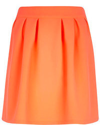 Bright orange pleated mini skirt medium 109267