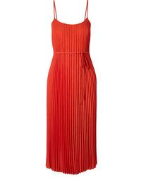 Vince Crinkled Pliss Crepe Midi Dress