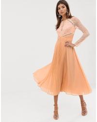 ASOS DESIGN Long Sleeve Led Pleat Midi Dress