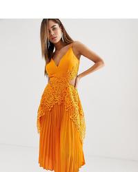ASOS DESIGN Pleated Midi Dress With And Hanky Hem