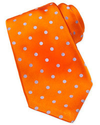 Woven polka dot silk tie orange medium 32019