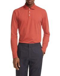 Z Zegna Extra Slim Fit Long Sleeve Stretch Cotton Polo Shirt