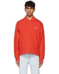 Ader Error Orange Needle Logo Long Sleeve Polo