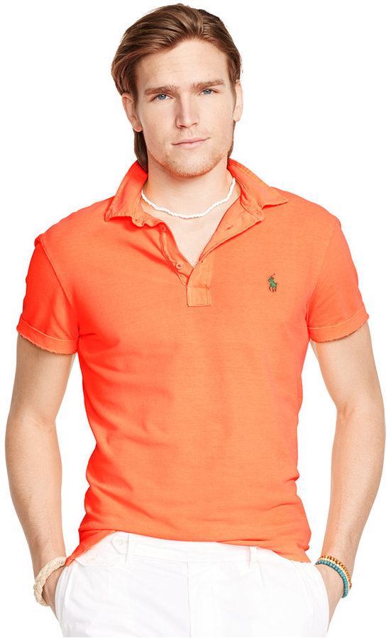 ... Orange Polos Polo Ralph Lauren Featherweight Mesh Polo ...