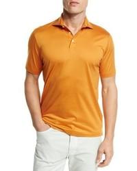 Ermenegildo Zegna Mercerized Cotton Polo Shirt Bright Orange