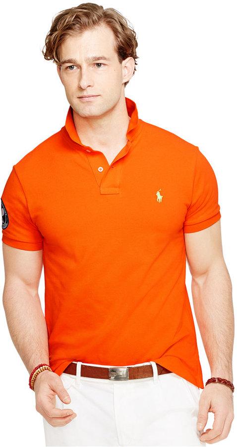 6ededf4e ... Orange Polos Polo Ralph Lauren Wimbledon Custom Fit Polo Shirt ...