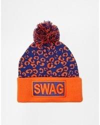 Liquorish Swag Beanie Hat With Pom Pom Orange
