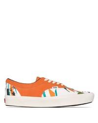 Orange Print Canvas Low Top Sneakers