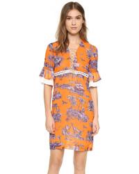 Orange Print Casual Dress