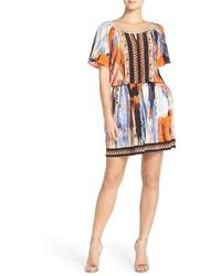 ECI Embellished Print Jersey Blouson Dress
