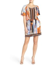 Embellished print jersey blouson dress medium 454200