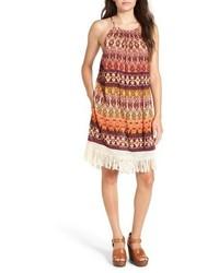 Band of Gypsies Fringe Trim Print Shift Dress