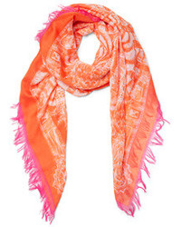 Echo accessories coral zebra fringe scarf medium 103109