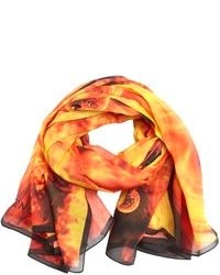 Givenchy black and orange cotton fireball printed mesh scarf medium 103108