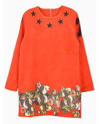 Choies Orange Stars Sweatshirt With Hem Detail