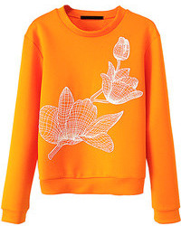 Choies Orange Visco Elastic Long Sleeve Sweatshirt With Lotus Pattern