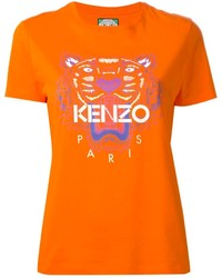 Orange Print Crew-neck T-shirt