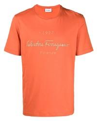 Salvatore Ferragamo Logo Print Cotton T Shirt