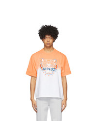 Kenzo Orange And White Tiger Gradient T Shirt