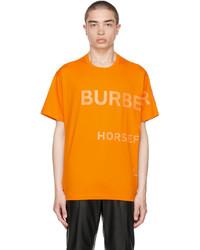 Burberry Orange Oversized Horseferry Print T Shirt