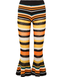 Loewe Paulas Ibiza Striped Knitted Flared Cropped Pants