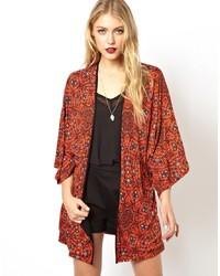 Asos Kimono In Spiral Print