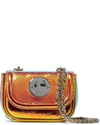 Hill & Friends Happy Tweency Holographic Textured Leather Shoulder Bag Orange
