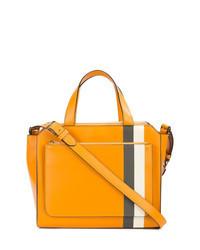 Orange Print Leather Tote Bag
