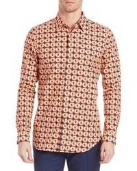 Orange Print Long Sleeve Shirt
