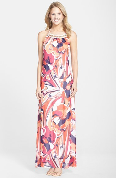ff1f85d8a3 ... KUT from the Kloth Floral Print Embellished Halter Maxi Dress ...