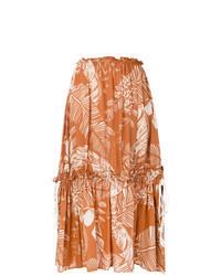 Orange Print Midi Skirt