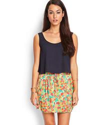 Orange Print Mini Skirt