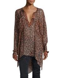 Leopard print silk top medium 3671021