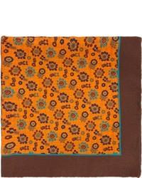 Barneys New York Floral Print Pocket Square Orange