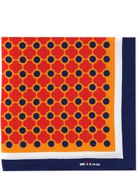 Kiton Floral Print Pocket Square Orangered