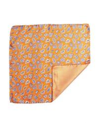 Daniel Dolce Orange And Purple Paisley Silk Reversible Pocket Square