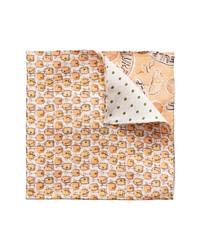 Eton Reversible Cocktail Dot Print Linen Pocket Square