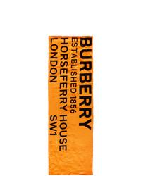 Burberry Orange Silk Print Puffer Scarf