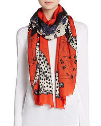 Wool blend mixed print scarf medium 450340