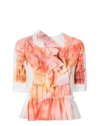 Orange Print Short Sleeve Blouse