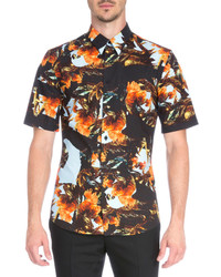 Orange Print Short Sleeve Shirt