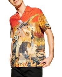 Topman Dinosaur Print Short Sleeve Button Up Shirt