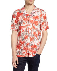 French Connection Dione Short Sleeve Button Up Camp Shirt