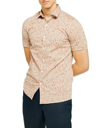 Topman Ditsy Floral Stretch Button Up Shirt