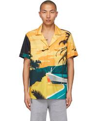 Balmain Multicolor Beach Print Short Sleeve Shirt