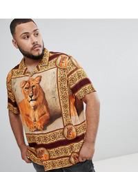 ASOS DESIGN Plus Oversized Tiger T Print Viscose Shirt With Revere Collar
