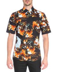 Givenchy Printed Short Sleeve Woven Shirt Orange