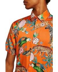 Topman Slim Fit Animal Print Shirt
