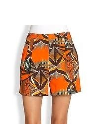 Etro Printed Stretch Cotton Shorts Light Orange